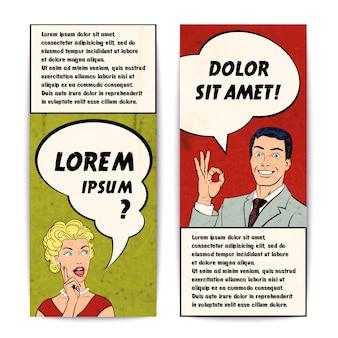 Zestaw ludzkich transparent komiksów