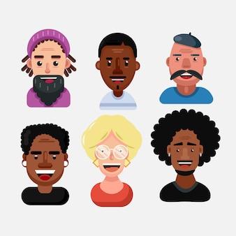 Zestaw ludzkich twarzy wyrażających pozytywne emocje. różnorodna wielorasowa i wielokulturowa grupa ludzi odizolowywająca