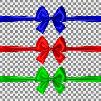 Zestaw łuków niebieski, czerwony i zielony na białym tle