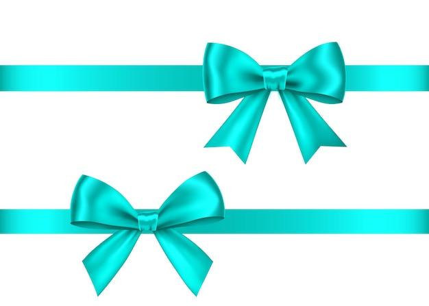 Zestaw łuków niebieski prezent na białym tle. boże narodzenie, nowy rok, dekoracja urodzinowa. wektor realistyczny element wystroju na baner, kartkę z życzeniami, plakat.