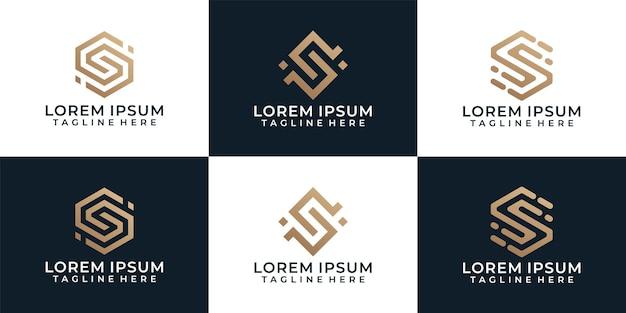 Zestaw luksusowego eleganckiego nowoczesnego symbolu logo litery s o geometrycznym kształcie