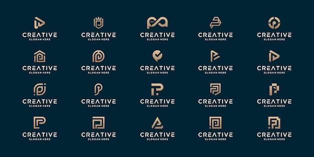 Zestaw luksusowego początkowego projektu logo streszczenie monogram p.