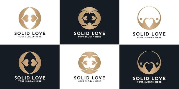Zestaw luksusowego projektowania logo kreatywnej miłości
