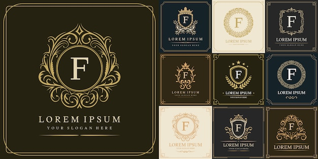 Zestaw luksusowego szablonu logo, pierwsza litera typu f.