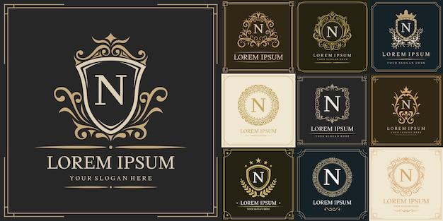 Zestaw luksusowego szablonu logo, pierwsza litera typu n