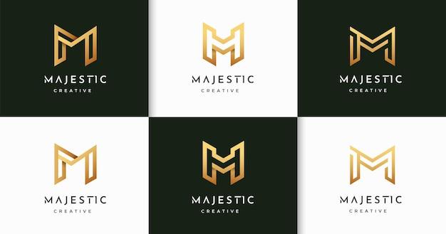 Zestaw luksusowego szablonu projektu logo stylu monogram litery m m