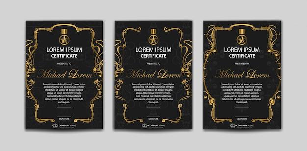 Zestaw luksusowy szablon certyfikatu