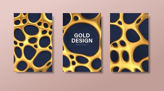 Zestaw luksusowych banerów z abstrakcyjną złotą nieregularną siatką organiczną z otworami