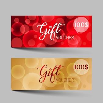 Zestaw luksusowych bonów prezentowych walentynki.