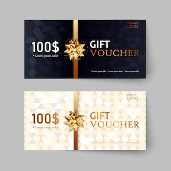 Zestaw luksusowych bonów upominkowych. elegancki szablon karty świątecznej, kuponu i certyfikatu. szablon kuponu rabatowego.