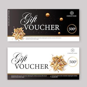 Zestaw luksusowych bonów upominkowych z wstążkami i pudełkiem. elegancki szablon na świąteczną kartę podarunkową