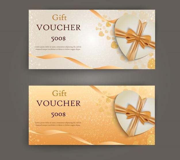 Zestaw luksusowych bonów upominkowych ze wstążkami i pudełkiem. elegancki szablon karty świątecznej, kuponu i certyfikatu.