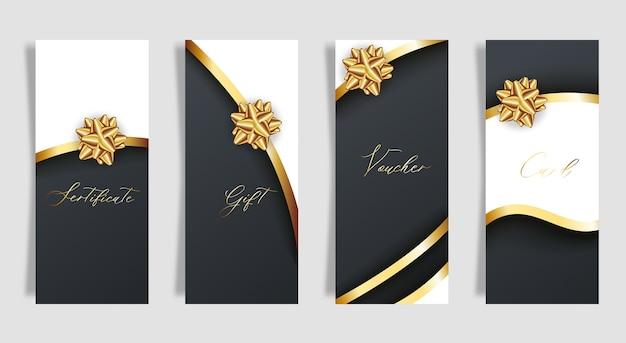 Zestaw luksusowych czarnych kart ze złotymi kokardkami prezentowymi ze wstążkami