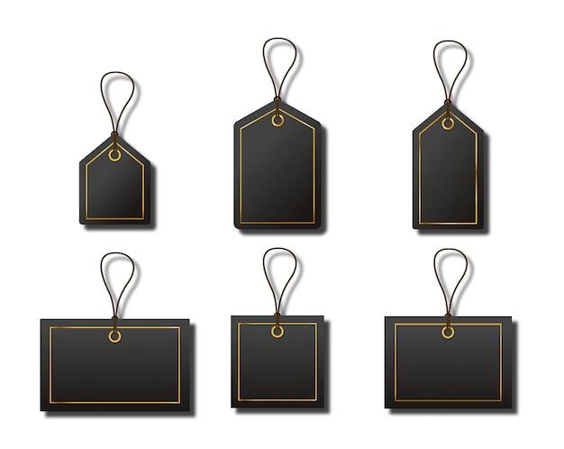 Zestaw luksusowych czarnych złotych pustych etykiet sprzedażowych