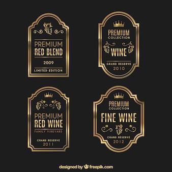 Zestaw luksusowych etykiet win