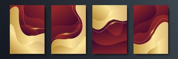 Zestaw luksusowych geometrycznych okładek lub szablonów kart okolicznościowych ze złotymi błyszczącymi elementami na czerwonym tle. odpowiedni do postów w mediach społecznościowych, aplikacji mobilnych, projektowania banerów i reklam internetowych lub internetowych