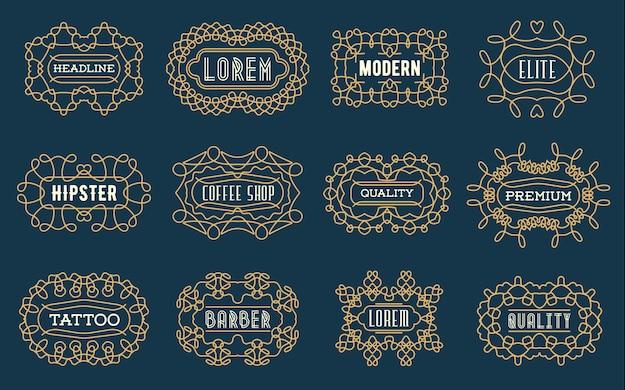 Zestaw luksusowych insygniów logotypy szablon retro design linii sztuka w stylu wiktoriańskim swash elementów