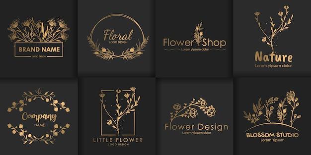 Zestaw luksusowych kwiatowych logo.