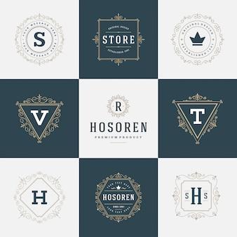 Zestaw luksusowych logo szablonów rozkwita kaligraficzne linie eleganckiego ornamentu.