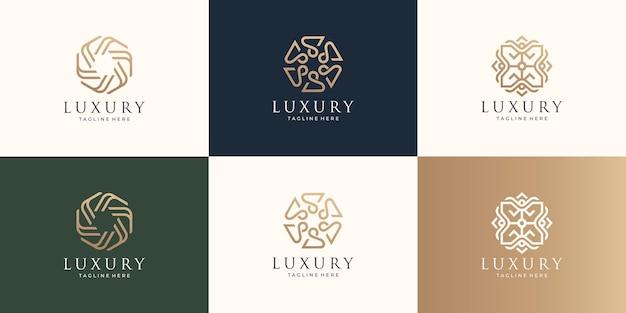 Zestaw luksusowych minimalistycznych projektów logo z koncepcją stylu sztuki linii. luksusowy projekt urody linii.