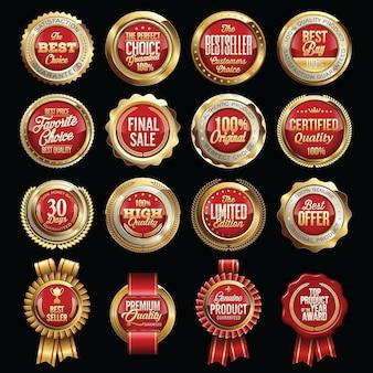 Zestaw luksusowych odznak jakości sprzedaży. tagi.