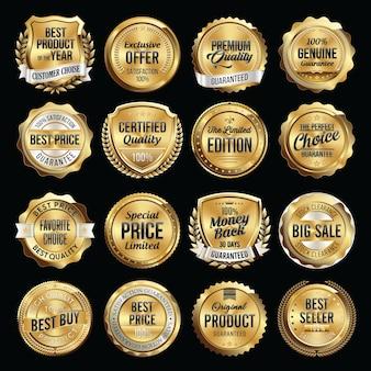 Zestaw luksusowych odznak jakości sprzedaży.