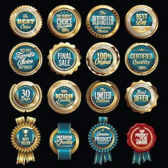 Zestaw luksusowych odznak jakości sprzedaży