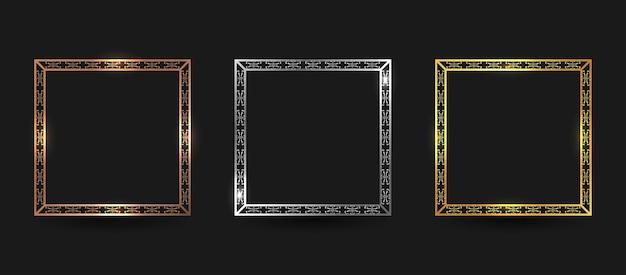 Zestaw luksusowych ramek z brązu, srebra i złota