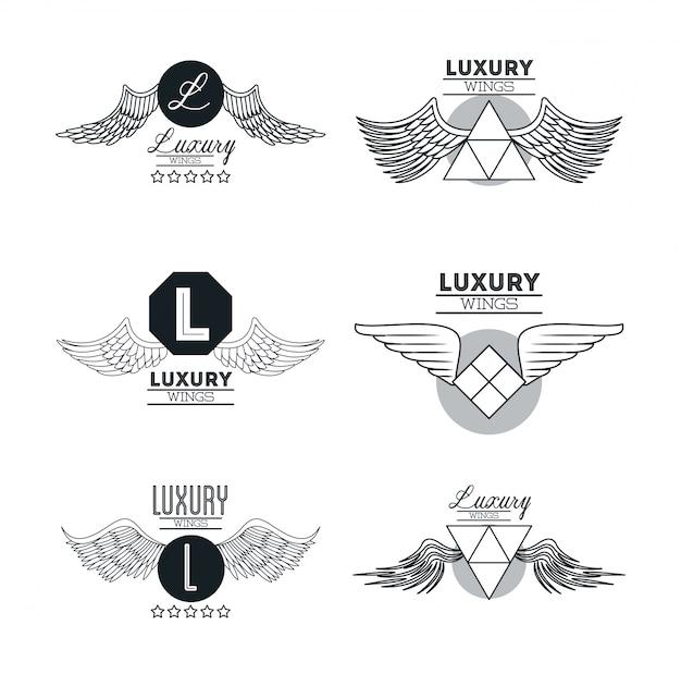 Zestaw luksusowych skrzydeł emblematów