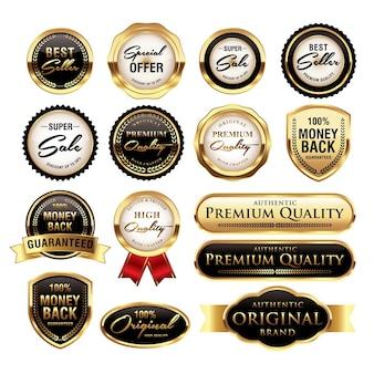 Zestaw luksusowych złotych odznak jakości etykiet