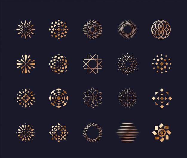 Zestaw luksusowych złotych streszczenie kwiat symboli