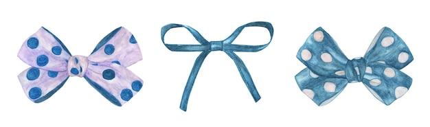 Zestaw łuku na prezent. akwarela ilustracja łuk i wstążki.