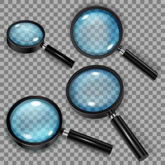 Zestaw lup z niebieskimi przezroczystymi okularami i czarnymi uchwytami