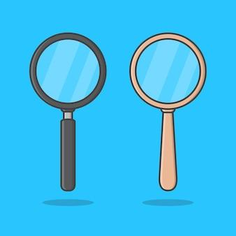 Zestaw lupy ikona na białym tle na niebiesko