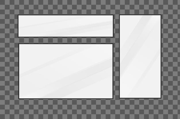 Zestaw luster o różnych kształtach. płaska konstrukcja.