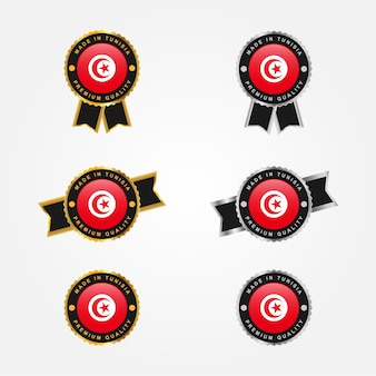 Zestaw made in tunezja projekt szablonu etykiet odznaka