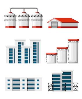 Zestaw magazynu. budowa obiektów przemysłowych i terminal zbożowy. zestaw ilustracji budynku magazynu i dostawy samochodów ciężarowych. ilustracja na białym tle.