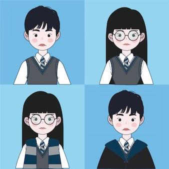 Zestaw magicznego mundurka szkolnego. ilustracja kreatora.