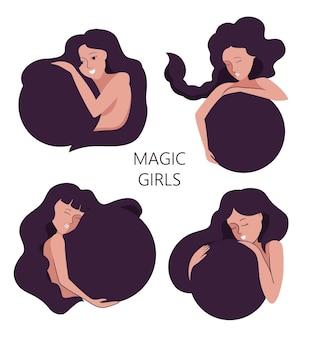Zestaw magicznych dziewczyn. kolekcja kobiet z kreskówek jest dobra do projektów mody, logotypów, naklejek itp. krąg kobiet przytulających się jest ilustracją wektorową