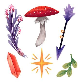 Zestaw magicznych ilustracji ezoteryczna magia dla wiedźmy, strzały, muchomora, gałązki z liśćmi, cekinów, kryształu, suszonej fioletowej gałązki z kwiatami