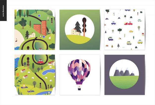 Zestaw magicznych ilustracji lato