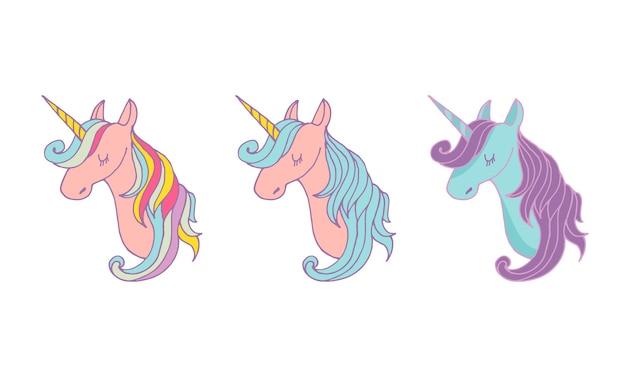 Zestaw magicznych jednorożców - słodkie ręcznie rysowane ilustracje