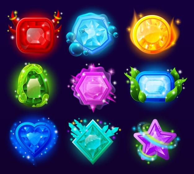 Zestaw magicznych klejnotów gier komputerowych
