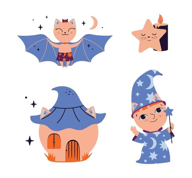 Zestaw magicznych naklejek z tekstem. duch kreskówek, czarodziej, wiedźma, dynia, nietoperz, dom, gwiazda. kolekcja jest dobra dla wzorów na halloween, logo maga. ilustracja wektorowa