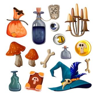 Zestaw magicznych przedmiotów wiedźmy. kapelusz, laska, kolby z miksturą, magiczna torba, folio, grzyby, kości, medalion, zwój zaklęć, magiczne oczy ilustracja na białym tle.