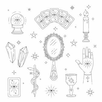 Zestaw magicznych symboli tatuaże czarownic przewidywania kart tarota kryształowa kula kart tarota świeca