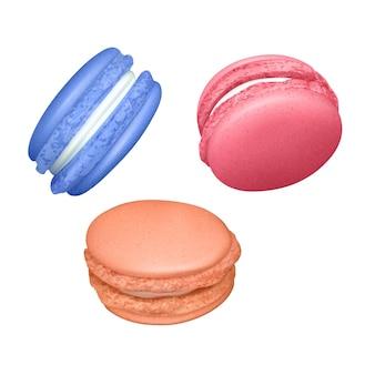 Zestaw makaroników. realistyczne smaczne francuskie makaroniki. na białym tle na białym tle, ilustracja