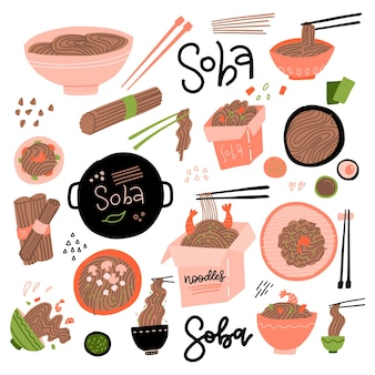 Zestaw makaronu gryczanego. różne punkty widzenia. azjatyckie potrawy w pudełku i misce, suche i gotowane. płaska ilustracja w stylu płaskiej kreskówki.