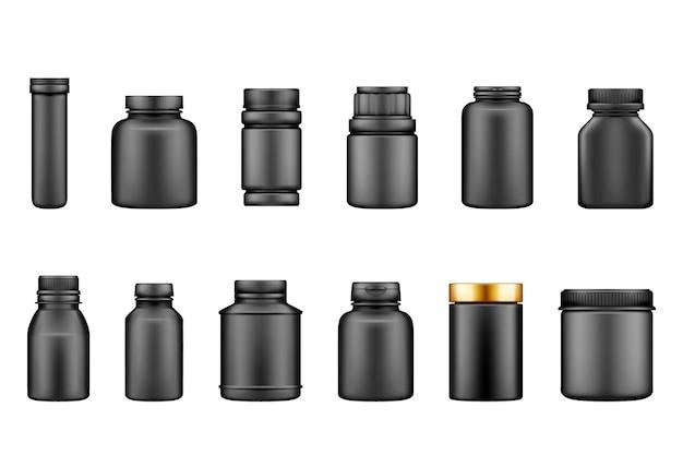 Zestaw makiet czarnych plastikowych butelek z suplementami na białym tle