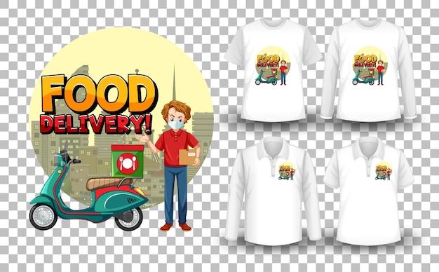 Zestaw makiet koszulki z motywem dostawy